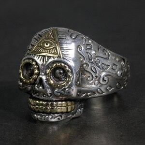 925 Sterling Silver Punk pierścień czaszka dla mężczyzn i kobiet w stylu Vintage Gothic otwarcie typu bóg oko rzeźba biżuterii