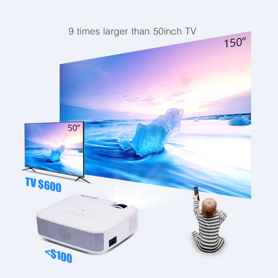 BYINTEK C520 Mini HD Projector (Opsional Android 10 TV Box),150Inch Home Theater, portable LED Projector untuk Ponsel 1080P 3D 4K