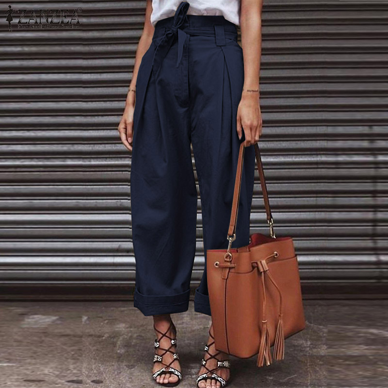 Women Cotton Linen High Waist   Pants     Wide     Leg     Pants   with Belt ZANZEA 2019 Fashion Ladies Zipper Up Paper Bag Trousers Streetwear
