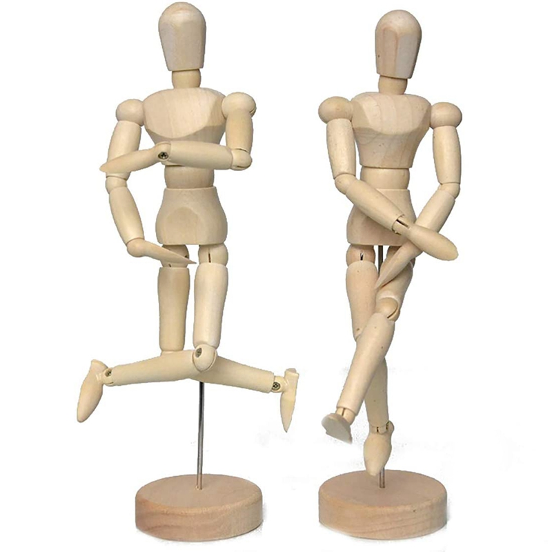 12 Inch Flexible Wooden Puppet Model Removable Wooden Artist's Sketch Model Home Office Desk Decoration 2 Pcs