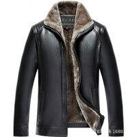 2019 New Autumn Winter Men Leather Jacket Stand Collar Plus Velvet Thick Warm Leather Jacket Men Social Mens Jackets