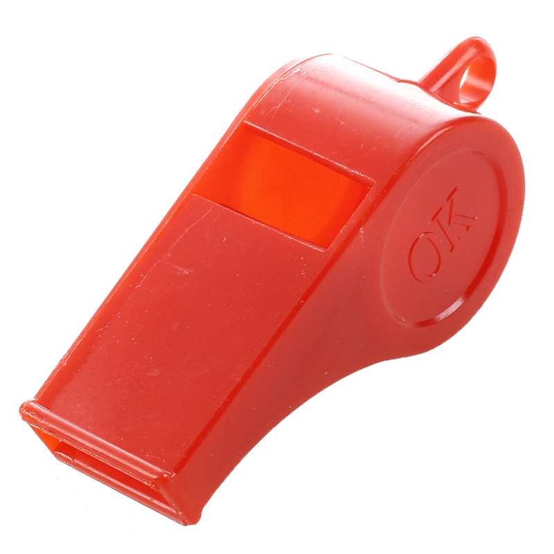 5 Pcs Sports Referee Plastic Assorted Color Whistle W String