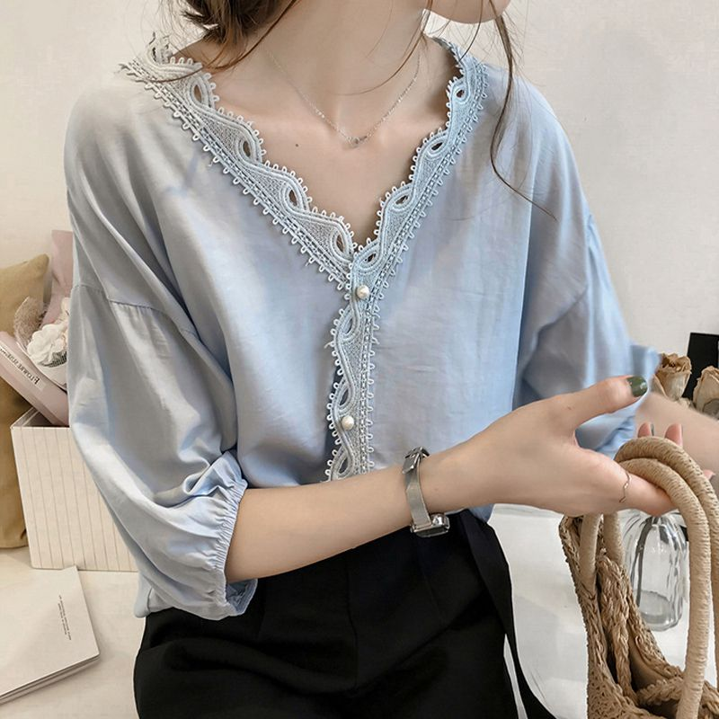 Women Pearl Buckle Chiffon Shirt Elegant Lace Stitching V-Neck Lantern Seven-Point Sleeve Loose Solid Color Shirt Tops N