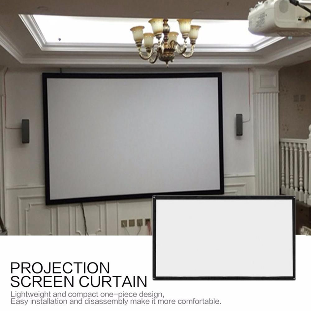 16:9 Portable Foldable Projector Screen Wall Mounted Home Cinema Theater 3D HD Projection Screen Canvas
