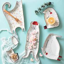 Креативная мультяшная Милая Керамическая Детская Чаша для завтрака, тарелка для десерта, фруктов, закусок, тарелка для животных, столовые приборы, миска, керамическая посуда