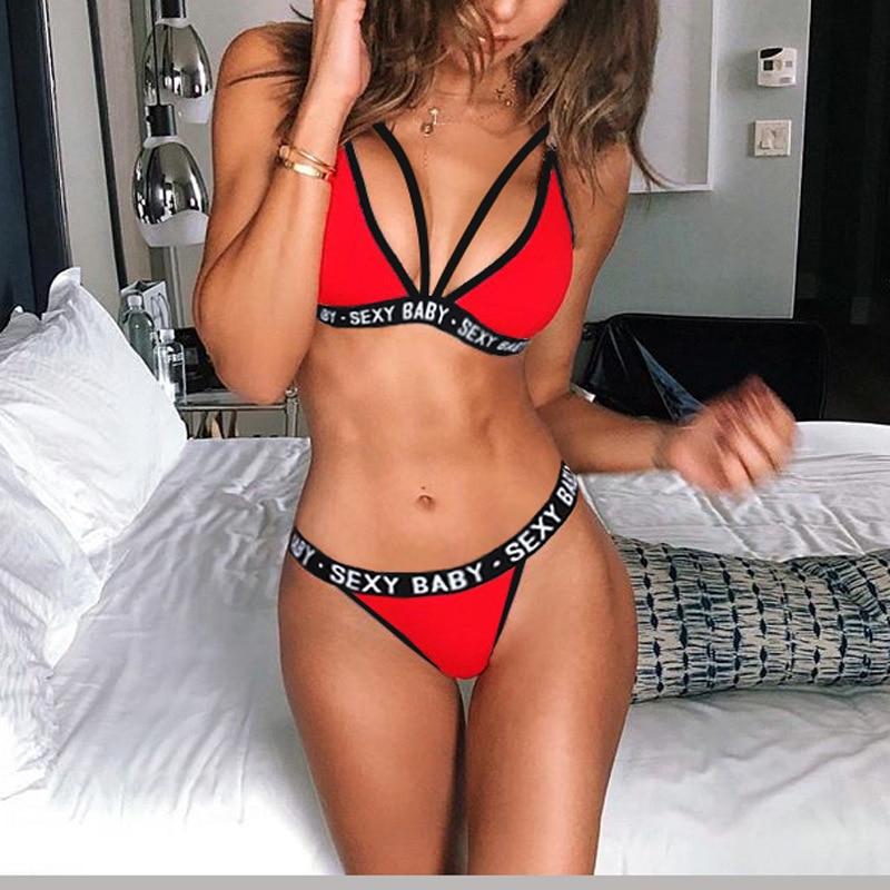New Sexy Letter Three-Point Suit Women's Sports Underwear Set Sexy Skinny Backless Underwear Bikini 1