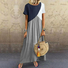 Moxeay 5XL Womens Zanzea Dresses Kaftans Cotton Linen Short Sleeve Loose Solid Women Plus Size Casual Kaftan Maxi Causal