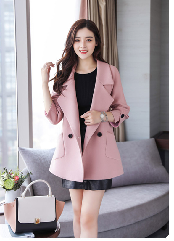 Autumn jacket women M-2XL plus size pink green beige coat 19 new long sleeve lapel fashion short paragraph jacket feminina LR484 32