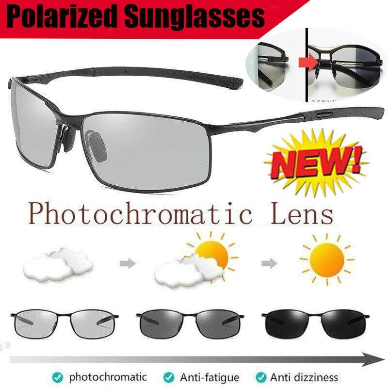 Brainart Men's Photochromic Sunglasses With Polarized Lens New