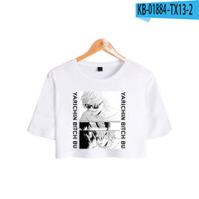 Fashion Cool Anime Manga Girls O-neck Cropped Kpop T-shirt Yarichin Bitch Club T-shirt Summer Sexy Women Short Sleeve Short Tops