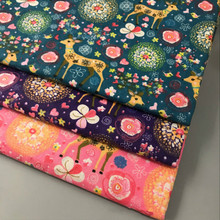 Width 150cm Lovely Deer Printed Cotton Linen Fabric DIY Sewing Quilting Linen Cotton Fabric Material Home Textile Handmade Craft hedgehog printed patchwork cotton linen fabric diy sewing linen cotton fabric quiting woven home textile material handmade craft