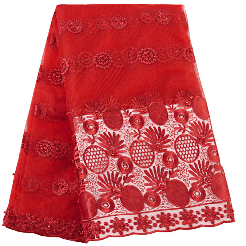 Latest African Laces Fabrics Embroidered French Lace Fabric Beaded Tulle Nigerian Lace Fabric 2019 High Quality Lace For Women