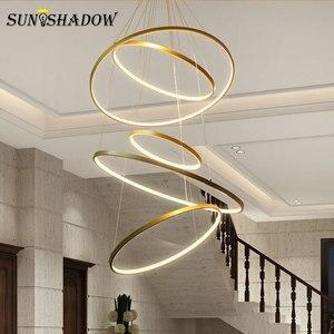 Image 5 - Koło wisiorek Led Light 9/6/5/4/3 pierścienie nowoczesna lampa wisząca mocowanie sufitowe salon sypialnia jadalnia kuchnia lampy wiszące