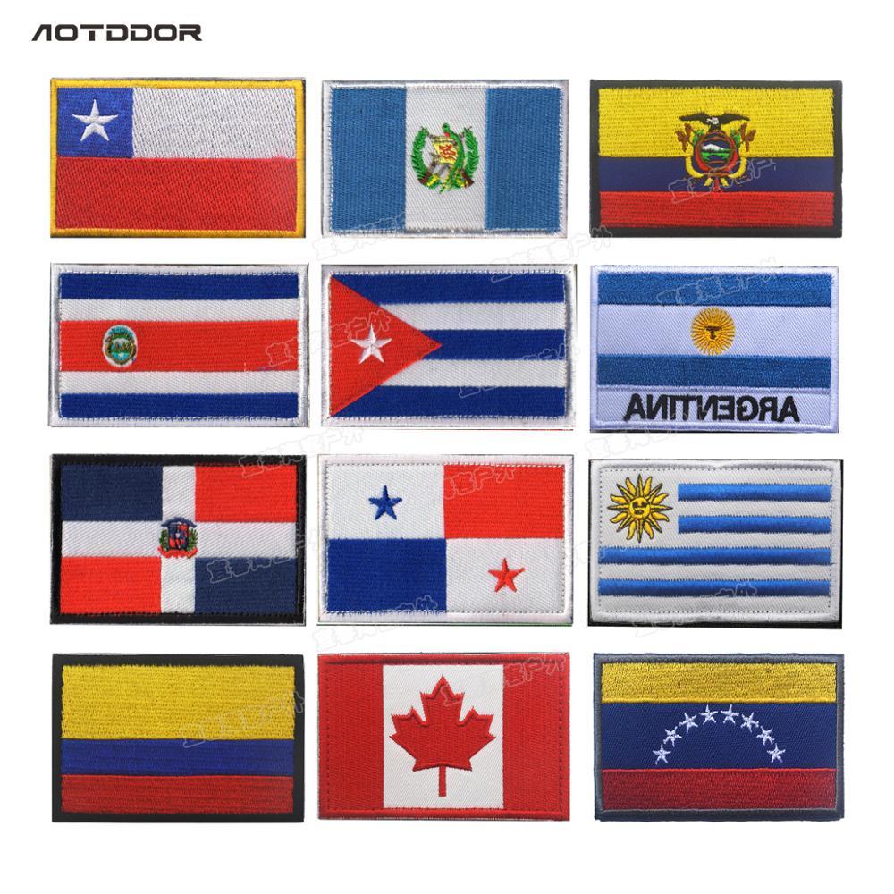 Bandeiras de País da américa Costa Rica Chile Uruguai Venezuela Colômbia Cuba Panamá Dominicana Patches Emblemas Listras Adesivos