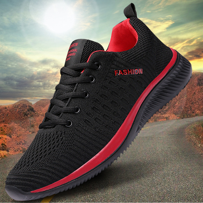 Men's Shoes 2019 Fashion Casual Shoes Men's Mesh Shoes Lightweight Comfortable Breathable Walking Sneakers Men's Black Sneakers