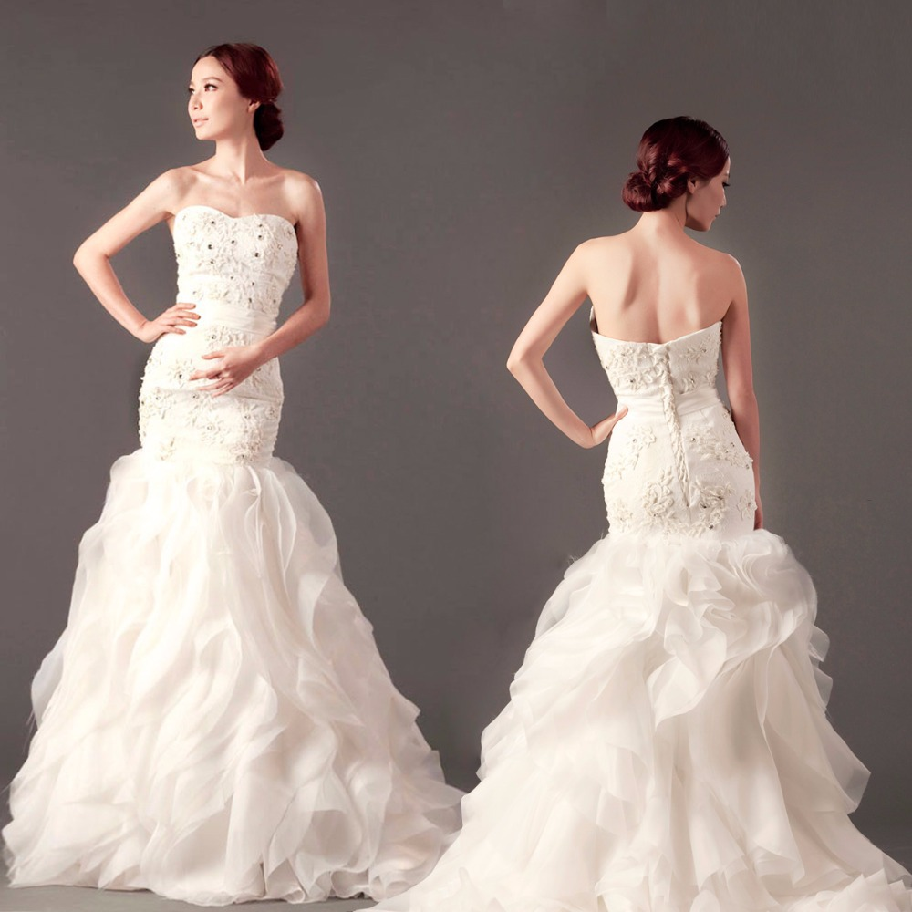 Actual Lmages Sweetheart Lace Appliques Long Wedding Dress 2015 A-line Organza Ruffles Bridal Gowns Vestidos De Noiva Casamento