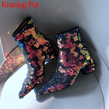 Krazing pot sequined cloth bling colorful pointed toe high heels zipper Chelsea party keep warm princess shoes ankle boots L80
