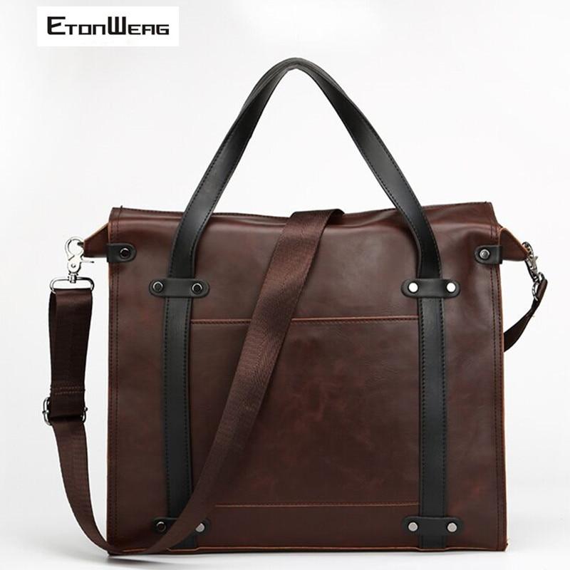 Vintage Briefcase Men Waterproof PU Leather Handbag Business Office Messenger Bag Solid Box Tote Business Laptop Shoulder Bags