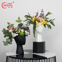 Modern Ceramic Lady Head Vases With Hollow Holes Black White Planter Handmade Art Decorative Flower Pot Home Wedding Party Decor