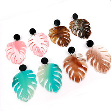 Acrylic earrings  Bohemian tree leaves long Multi-color Statement Women fashion Plant Jewelry luxury Acetate Jewelrys