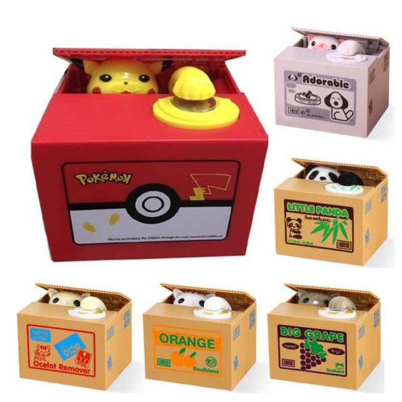 Caixa de dinheiro de poupança seguro automático roubar moeda gato kitty moedas centavos mealheiro caixa de dinheiro para crianças segurança moneybox presente da criança