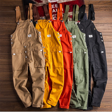Men's Loose Cargo Bib Overalls Pants Multi-Pocket Overall Men Casual Coveralls Suspenders Jumpsuits Rompers Wear Coverall