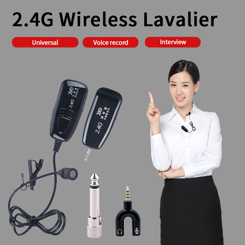 2.4 G Wireless Lavalier Microphone Lavalier Lapel Clip-on Mic For IPhone Android Phone Voice Video Recording Accessories