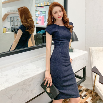 Spring Sexy Party Bodycon Office Sheath Dresses High-end Women O Neck Short Sleeve Elegant  brand 2020 Dress Vintage chic Dress