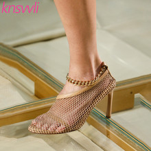 Fishing Net Leather High Heel Women Pumps Chain Ankle Strap Mesh Thin H