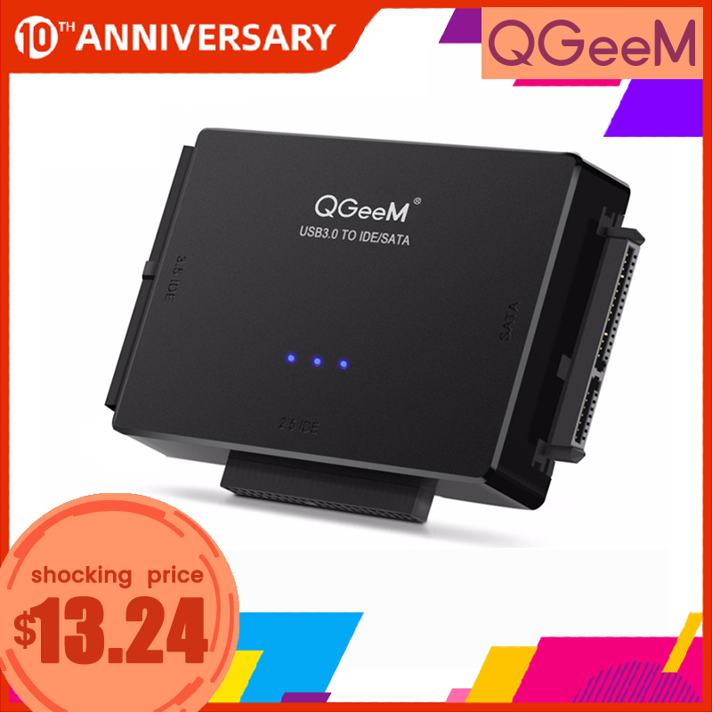 QGeeM SATA To USB IDE Adapter USB 3.0 2.0 Sata 3 Cable For 2.5 3.5 Hard Disk Drive HDD SSD USB Converter IDE SATA Adapter