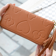 MONNET CAUTHY Autumn New Long Wallets Sweet Fashion PU Zipper High Capacity Multi-card Slot Purse Solid Color Brown Blue Wallet