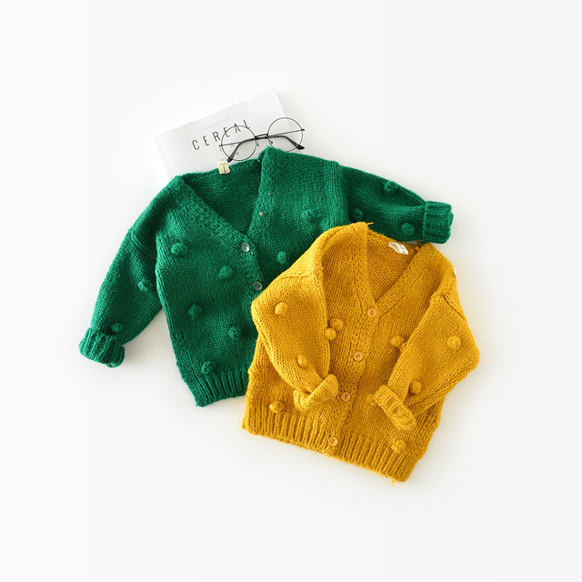 1-3 Years Old Baby Girl Sweater Child 17 Winter Ball In Hand Down Sweater Cardigan Jacket Cardigan For Girl Girls Cardigan 5