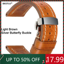DEETLE Watch Bands 20mm 22mm 24mm Vintage Genuine Leahter Watch Strap With Butterfly Buckle Clasp For Panerai Mido Tissot Seiko