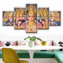 Wall Art Home Decor Canvas Painting Modern 5 Pieces Print Mythology Shiva Vishnu India Deities Ganesha Poster Artwork