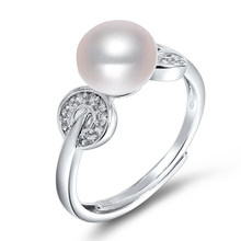 DMCRFP011 8-9mm Pearl Ring Real 925 Sterling Silver Semi-round Pearl Ring Adustable For Women(China)
