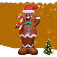 1.5M Christmas Inflatable LED Gingerbread Man Cookie with LED Lights Yard Airblown Decoration Fun Xmas Party Display Oc15