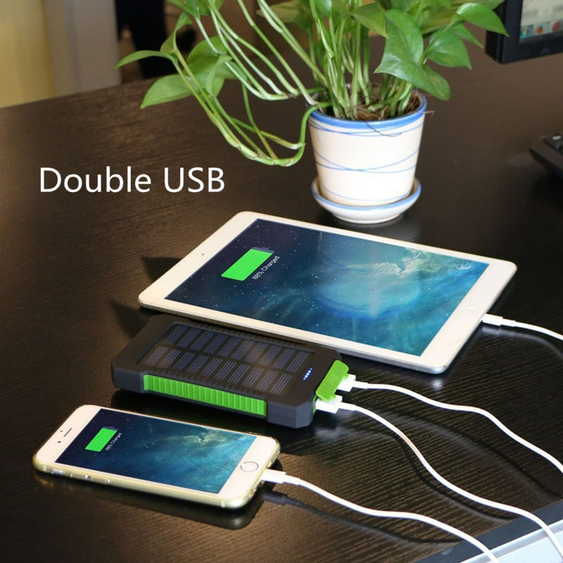 Waterproof 30000mAh Solar Power with USB Ports and LED Light for Smartphone Charging 2