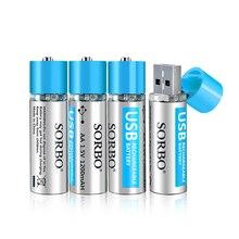 4/8 Cái Sorbo 1.5V AA 1200 MAh Lithium Polymer Lithium Pin USB Sạc Pin Lithium Không bao Gồm Cáp USB Bộ