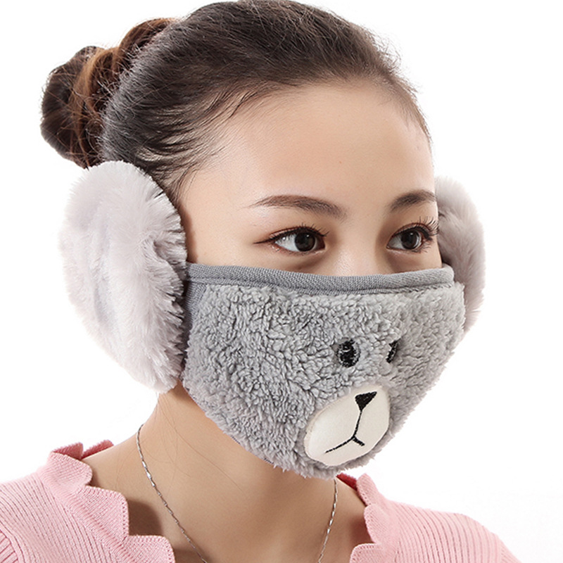 Women Men Unisex Cartoon Bear Velvet Warm Mask With Earmuffs Kpop Colorful Dustproof Muffle Multi-function Mask For Adult