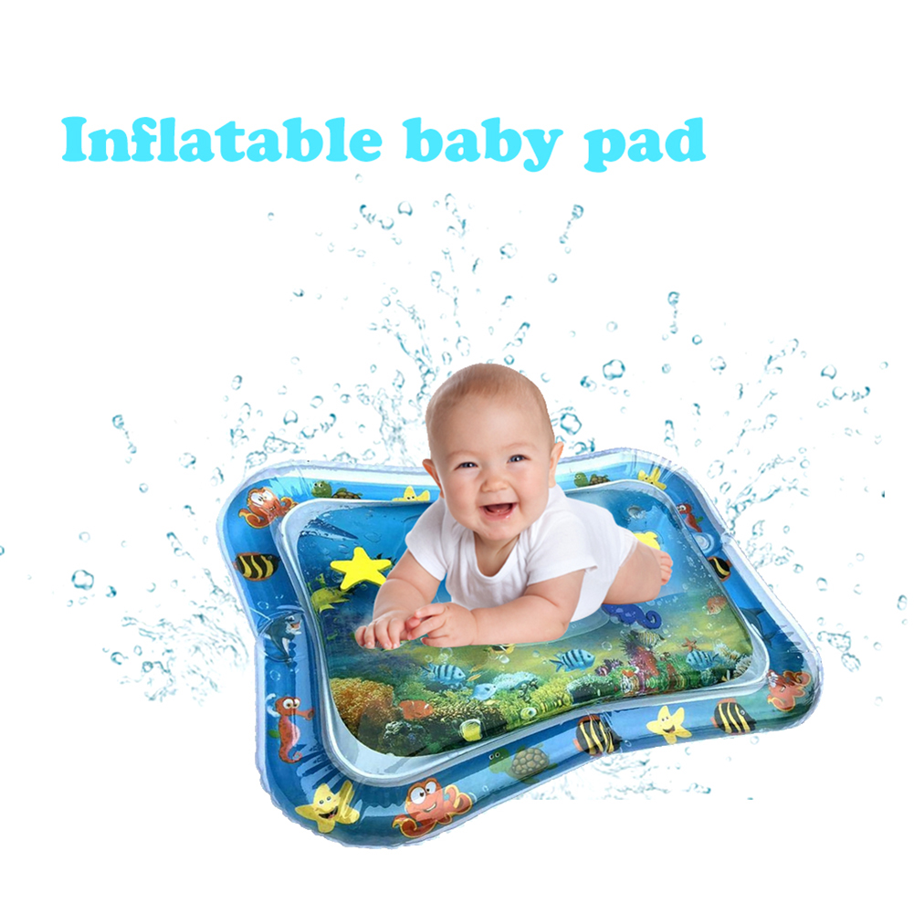 Baby Kids Inflatable Water Play Mat PVC Floating Fish Sea World Patted Pad Comfortable Cushion Tummy Time Playmats 66x50cm