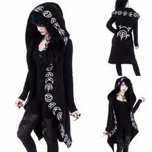 Women Black Hooded Sweatshirt Hoodies Womens Punk Style Moon Print Long-sleeve Long Zip-up S-5XL