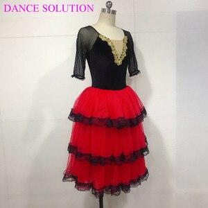 Image 2 - 3 Tiered Romantic Tutu Skirt with Lace for Girls & Women Ballerina Dance Costume Spanish Dress Mid Sleeve Long Ballet Tutu 19505