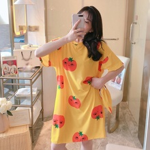 2020 New Sweet Women Short-sleeved Nightdress Female Summer Spring And Autumn Thin Section Loose Home Service Long Nightdress new pyjamas women s summer mesh double layer solid color lace princess short sleeved nightdress large size home service d180111