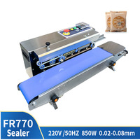 FR 770 Food Bag Continuous Sealing Machine Automatic Plastic Film Packaging Machine Auxiliary Equipment Printing Machine Date