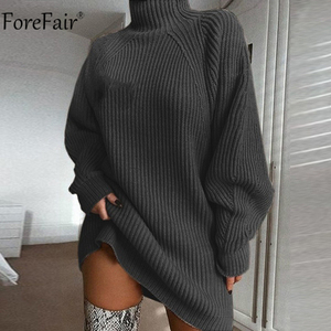 Image 3 - Forefair Turtleneck Long Sleeve Sweater Dress Women Autumn Winter Loose Tunic Knitted Casual Pink Gray Clothes Solid Dresses