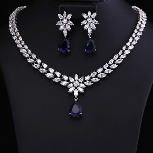 Image 4 - COlOR BEST QUALITY BRILLIANT CRYSTAL ZIRCON EARRINGS AND NECKLACE JEWELRY SET WEDDING DRESS ACCESSARIES