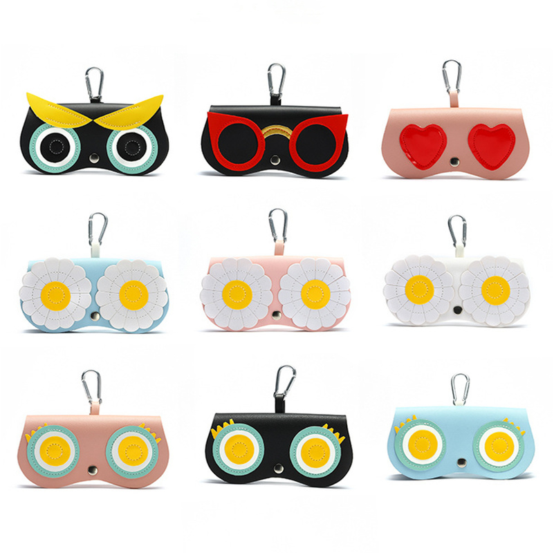 Sunglasses Bag PU Leather Glasses Box Cute Flower Pattern EyeGlasses Case Cover Clip Multi-functional Sunglasses Case Holder