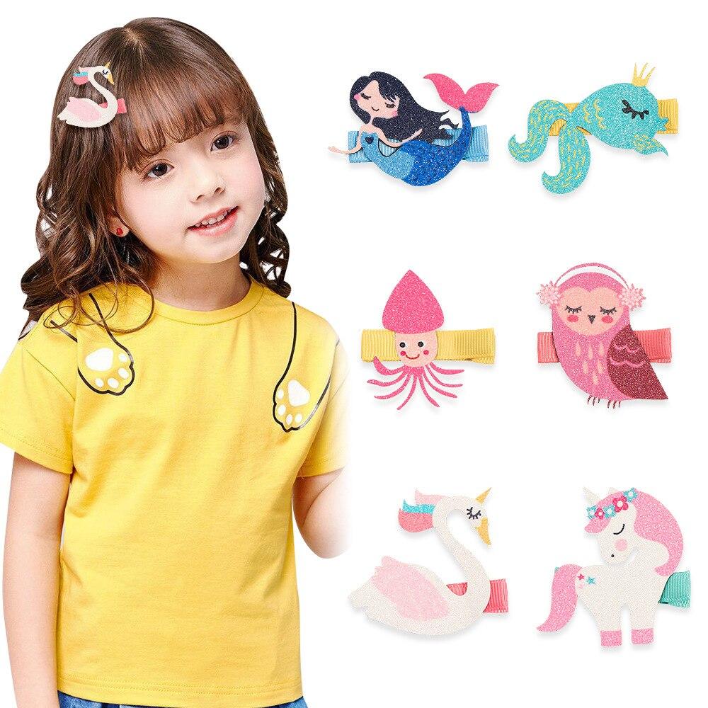 1PCS New Animal Fabric Kids Hairpins Girls Hair Clips Classic Hair Barrettes Children Cartoon Hair Accessories Princess Headwear