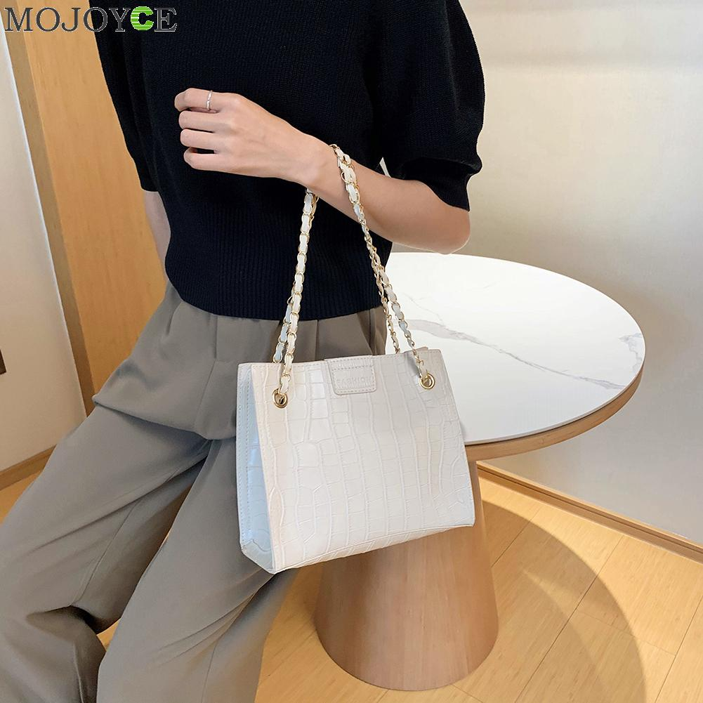 Fashion PU Stone Pattern Handbags Women Solid Color Travel Daily Crossbody Bags Youth Ladies Simple Versatile Bag