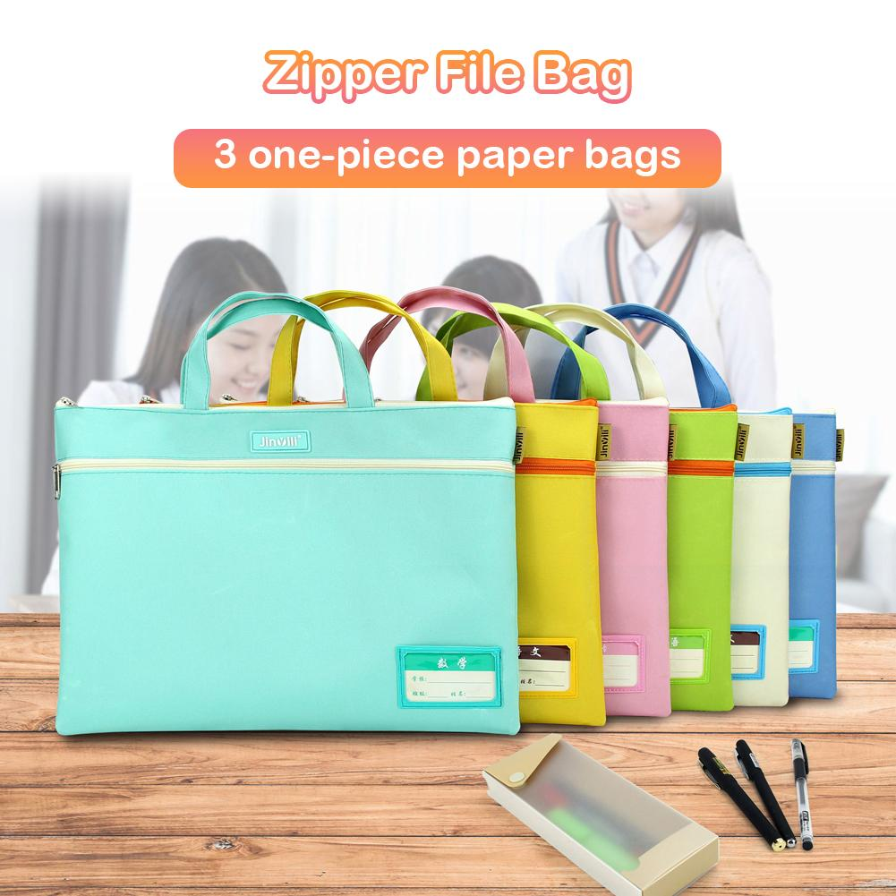 Dual Layer Oxford Cloth A4 Document File Folder Holder Zipper Bag With Handle